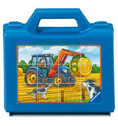 Würfelpuzzle Fahrzeuge auf dem Bauernhof