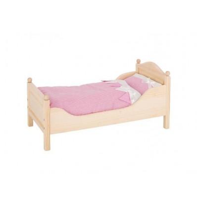 Puppenmöbel Bett Holz Beige