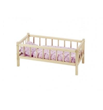 Puppenmöbel Bett Holz mit Gitter