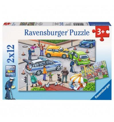 Puzzle mit Blaulicht unterwegs